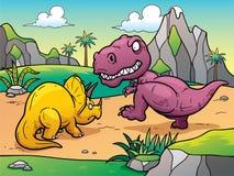 Dinosaur. Vector illustration of Dinosaur fighting cartoon Royalty Free Stock Image
