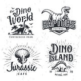 Dinosaur Vector Logo Set. Triceratops t-shirt illustration concept. Raptors college sport team insignia design template Stock Photography