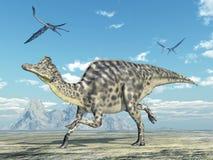 Dinosaur Velafrons and pterosaur Quetzalcoatlus Stock Image