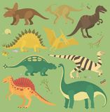 Dinosaur vintage color seamless pattern vector. Royalty Free Stock Image