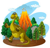 Dinosaur and volcano eruption Royalty Free Stock Image