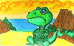 Dinosaur with volcano painting. Background Royalty Free Stock Photos