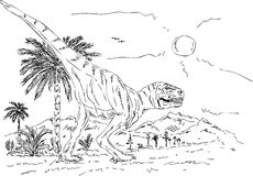 Dinosaur walking Royalty Free Stock Photography
