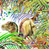 Dinosaur watercolor. Dinosaur, tropical exotic forest background illustration Dinosaur. Stock Photo