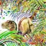 Dinosaur watercolor. Dinosaur, tropical exotic forest background illustration Dinosaur. Stock Photo