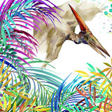 Dinosaur watercolor. Dinosaur, tropical exotic forest background illustration Dinosaur. Royalty Free Stock Image