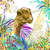 Dinosaur watercolor. Dinosaur, tropical exotic forest background illustration Dinosaur. Royalty Free Stock Images