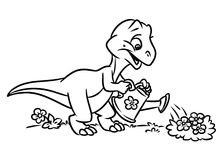 Dinosaur watering flowers coloring pages Royalty Free Stock Photography