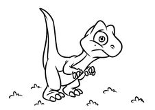 Dinosaur wonder coloring page cartoon Illustrations Royalty Free Stock Images