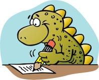 Dinosaur writing. Cartoon illustration of a dinosaur writing Stock Image