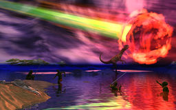 Dinosaur2. Dinosaur and asteroid 3d rendered image Stock Image
