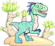 Dinosaura śliczny prehistoryczny velociraptor, śmieszna ilustracja Obrazy Stock