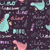 dinosaura bezszwowy deseniowy Dinosaury cieszą się spacer Tło tekstura z styl chrzcielnicami i literowanie dla dziecka fashi ilustracja wektor