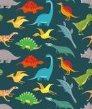 Dinosaura bezszwowy wzór Śliczni dzieciaków dinosaury, kolorowi smoki Wektorowa tapeta ilustracji