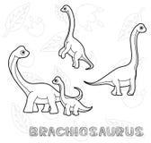Dinosaura brachiosaurusa kreskówki Wektorowy Ilustracyjny monochrom ilustracja wektor