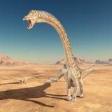 Dinosaura diplodokus w pustyni ilustracji