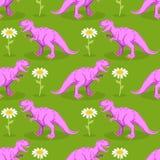 Dinosaura i kwiatu bezszwowy wzór Różowy Tyrannosaurus i krzywka Obrazy Royalty Free