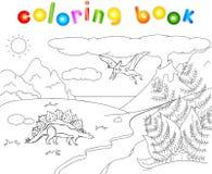 Dinosaura pterodaktyl na tle prehis i stegozaur Obraz Royalty Free
