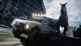 Dinosaura rex bieg za samochodem w zniszczonym mieście Dinosaura apocalypse Pojęcie przyszłość świadczenia 3 d ilustracja wektor