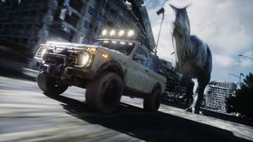 Dinosaura rex bieg za samochodem w zniszczonym mieście Dinosaura apocalypse Pojęcie przyszłość Realistyczna 4K animacja royalty ilustracja