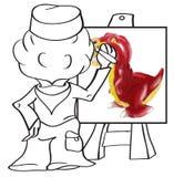 dinosaura rysunkowy malarza obrazu rex t Obraz Stock