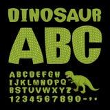 dinosaure ABC Police de reptile préhistorique Lettres vertes Textur Image libre de droits