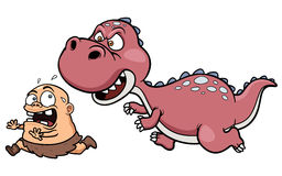Dinosaure chassant un homme des cavernes illustration de vecteur