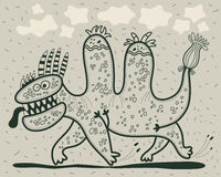 Dinosaure courant de bande dessinée Photographie stock libre de droits