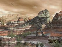 Dinosaure d'Allosaurus dans le désert - 3D rendent Photos libres de droits