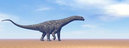 Dinosaure d'Argentinosaurus dans le désert - 3D rendent Photographie stock libre de droits