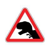 Dinosaure d'attention Dangers de panneau routier rouge Predat préhistorique Photographie stock
