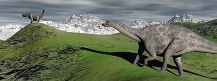 Dinosaure de deux dicraeosaurus Photos stock