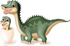 Dinosaure de mère avec la hachure de bébé Image stock