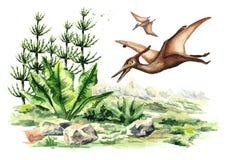 Dinosaure de ptérodactyle dans le paysage préhistorique Illustration tirée par la main d'aquarelle d'isolement sur le fond blanc illustration libre de droits