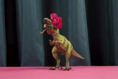 Dinosaure de rideau mangeant la fleur de roses rouges Photos libres de droits