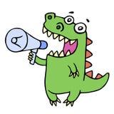 Dinosaure de sourire drôle criant dans le mégaphone illustration stock