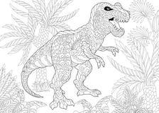 Dinosaure de tyrannosaure de Zentangle illustration stock