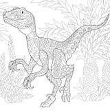 Dinosaure de velociraptor de Zentangle Photos libres de droits