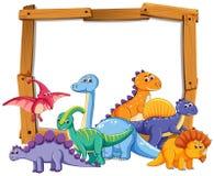 Dinosaure différent sur le cadre en bois illustration stock