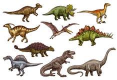 Dinosaure et croquis préhistoriques d'animal de reptile illustration libre de droits
