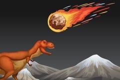 Dinosaure et terre se brisante de meteror Photographie stock libre de droits