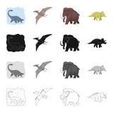 Dinosaure marin, ptérodactyle, mammouth préhistorique, triceraptor Dinosaures et icônes préhistoriques de collection d'ensemble d Image libre de droits