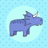 Dinosaure mignon dans le style de bande dessinée avec l'empreinte de pas sur le fond Photos stock