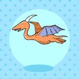 Dinosaure mignon dans le style de bande dessinée avec l'empreinte de pas sur le fond Photographie stock