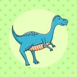 Dinosaure mignon dans le style de bande dessinée avec l'empreinte de pas sur le fond Photographie stock libre de droits