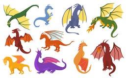 Dinosaure mignon de bébé de caractère de Dino de libellule de vecteur de bande dessinée de dragon pour l'ensemble puéril d'illust illustration libre de droits