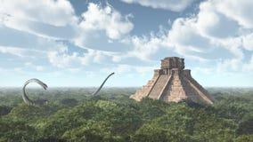 Dinosaure Omeisaurus et temple maya Photo stock