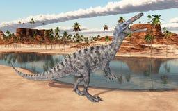 Dinosaure Suchomimus à un point d'eau illustration de vecteur