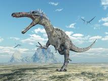 Dinosaure Suchomimus et pterosaur Quetzalcoatlus illustration libre de droits