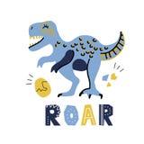 Dinosaure tiré par la main de bande dessinée mignonne de vecteur avec marquer avec des lettres l'hurlement de qoute Tyrannosaure  illustration libre de droits